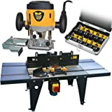 """Wolf 1200 Watt 52mm Plunge Router Cutter Spindle With Variable Speed and Table Kit - Convert Router Into Spindle Moulder - Including 6mm 8mm 1/4"""" Collets - PLUS TCT Router Bit Set"""