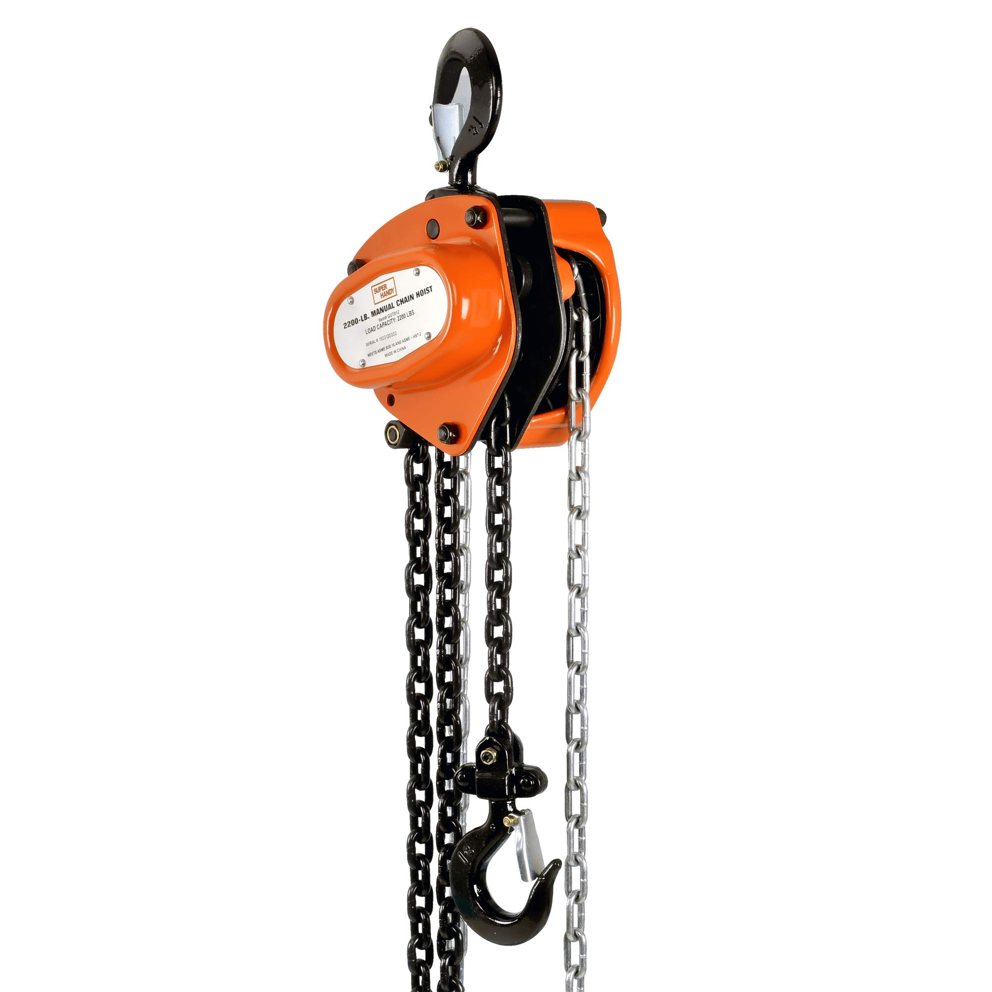SuperHandy Manual Chain Block Hoist Come Along 1 TON 2200LBS Capacity 10FT Lift Heavy Duty Hooks Commercial Grade Steel for Lifting Pulling Construction Building Garages Warehouse Automotive Machinery by SuperHandy