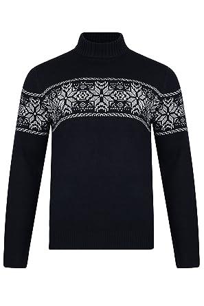 Herren Weihnachten Pulli Threadbare Weihnachten Polo Hals Fair Isle  gestrickt Schneeflocken Pullover NEU - marineblau -