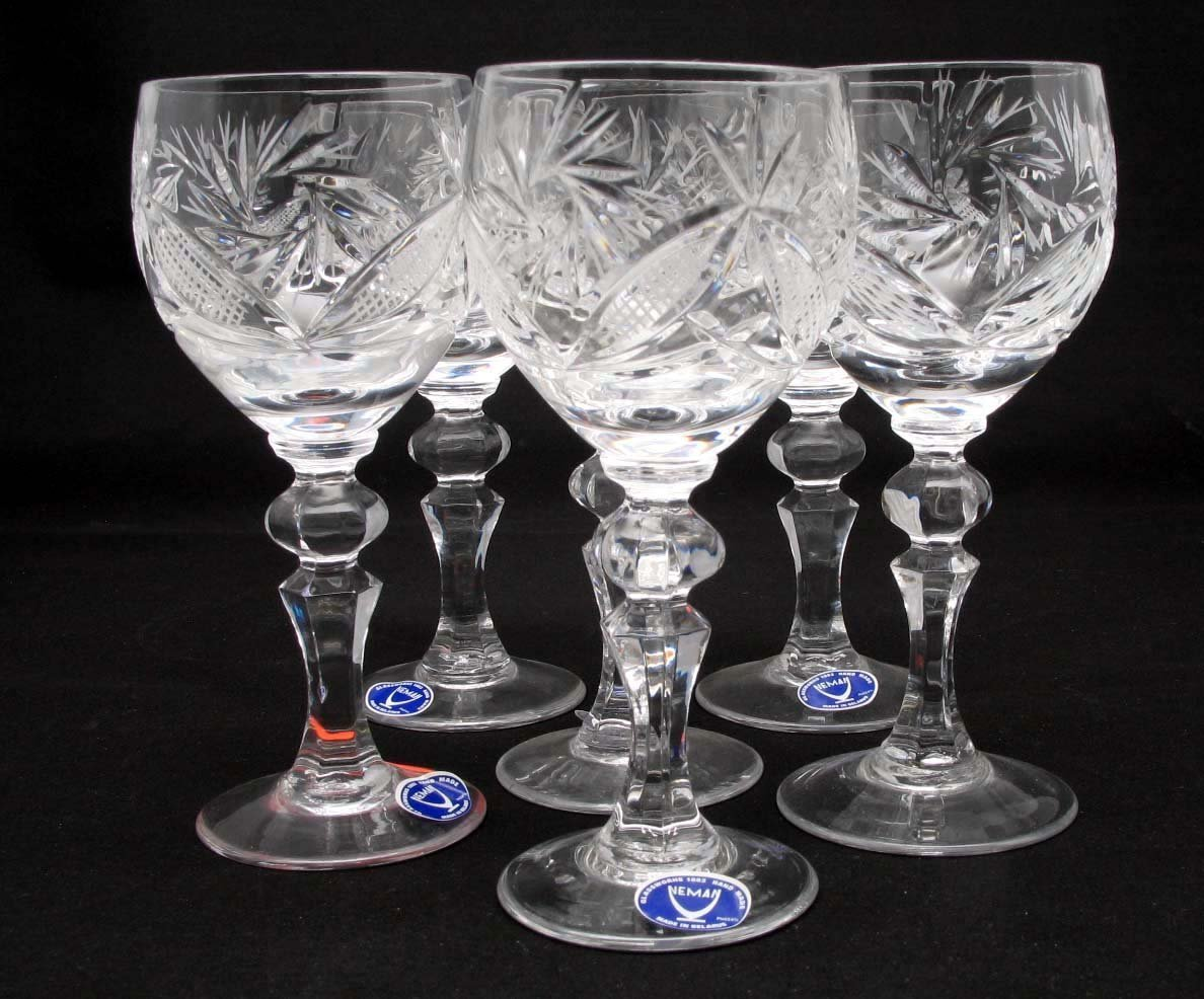 SET of 6 Russian CUT Crystal Shot/sherry Glasses on a Long Stem 65ml/2oz Hand Made