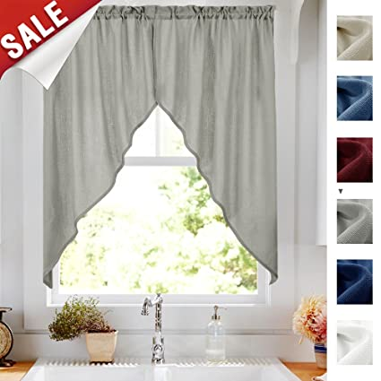 Attrayant Casual Weave Grey Swag Curtains For Living Room 63 Inches Length Home Decor  Solid Color Semi