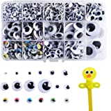 ETSAMOR 1200pcs Wiggle Googly Eyes Self-adhesive Round Moving Wobbly Googly Eyes 5 mm to 25 mm Assorted Sizes for Art Craft Projects