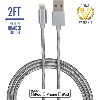 Iphone Usb Cable Replacement: Amazon.com: vCharged Gray 2 FT Short Replacement iPhone Cable Nylon rh:amazon.com,Design