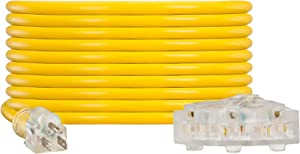 NC XQIN Heavy Duty Extension Cord 20 ft UL Listed 12 Gauge Extension Cord Indoor Outdoor Extension Cord- 12/3 SJTW Lighted Triple Outlet Extension Cord 3 Prong Extension Cord