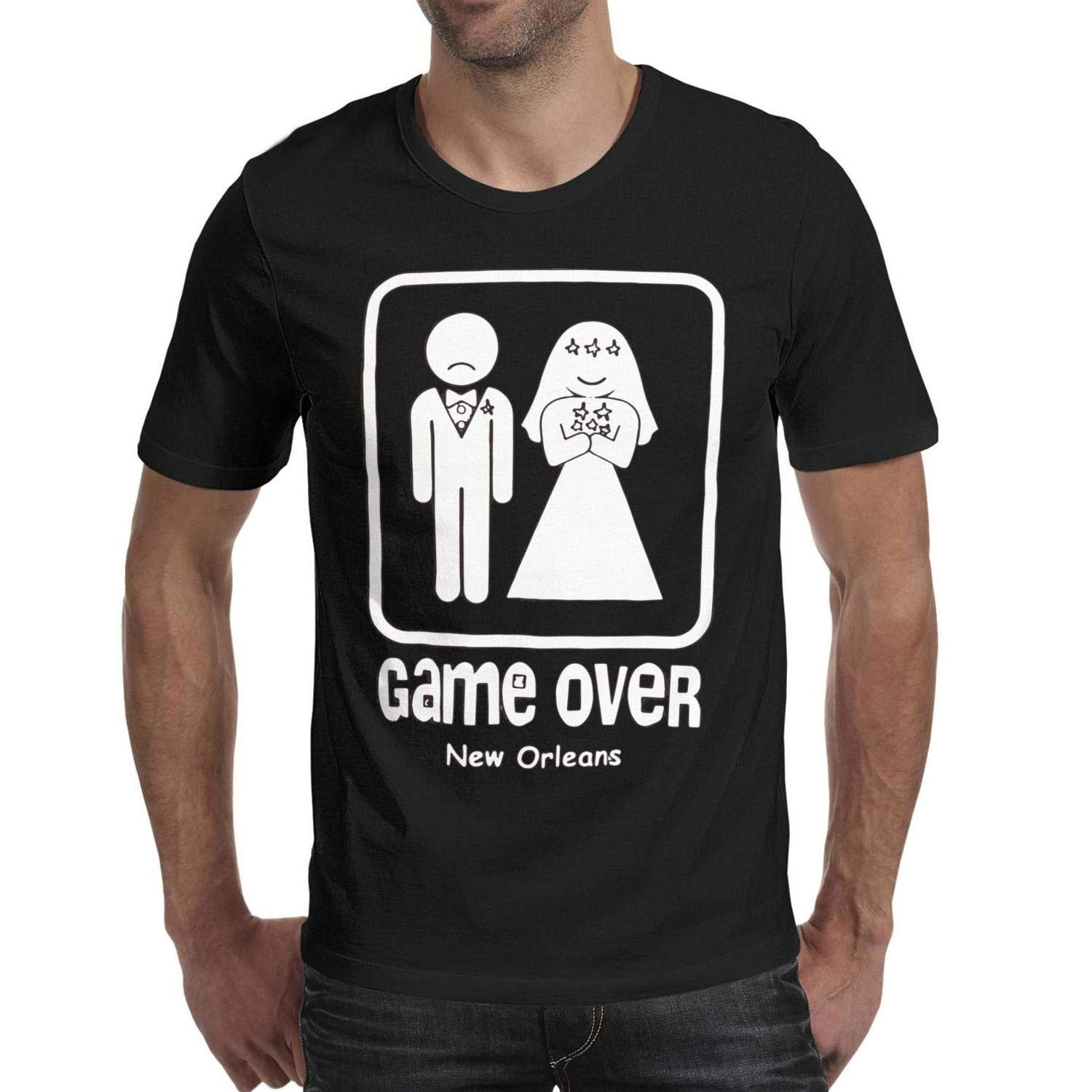 Wedding-Game Over Mens Guys Short Sleeve tee Shirt.A Cool Dry Casual 100% Cotton T-Shirts