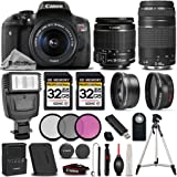 Canon EOS Rebel T6i / 750D 24.2 MP DSLR Camera + Canon EF-S 18-55mm f/3.5-5.6 IS STM Lens + Canon EF 75-300mm f/4-5.6 III Lens - All Original Accessories Included - International Version