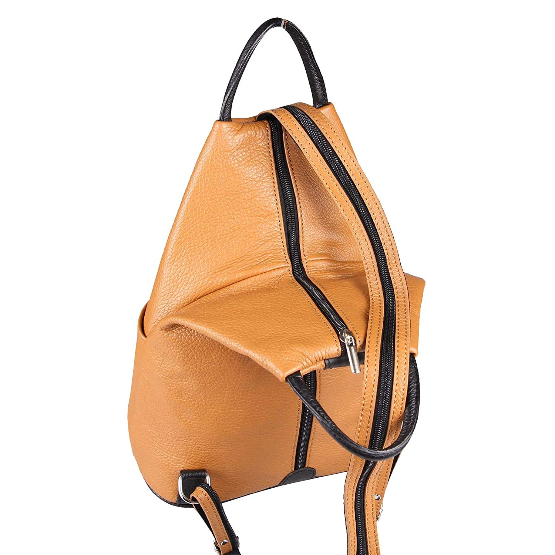 OBC Made in  Damen echt Leder Rucksack Tasche Tasche Tasche Schultertasche Ledertasche Daypack Backpack Handtasche (Cognac-Schwarz V1) B07J1XMRFS Rucksackhandtaschen Schönes Design e18fcc