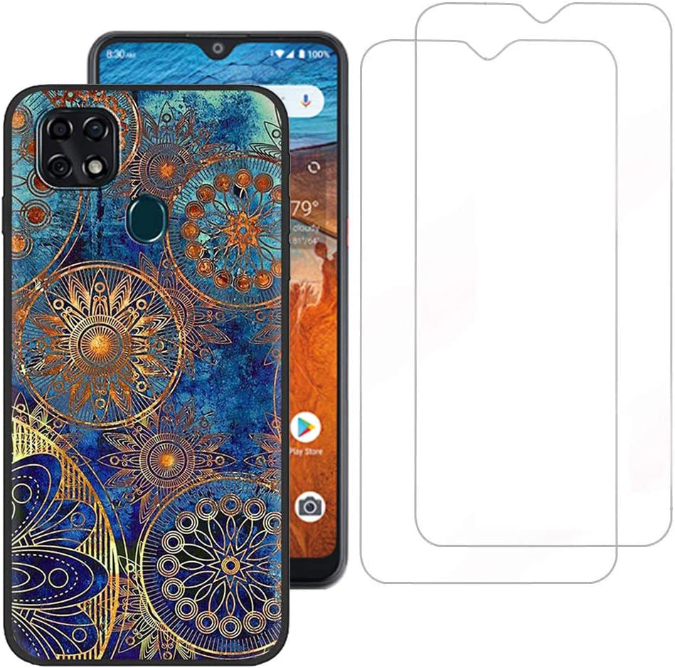 Tznzxm ZTE ZMax 10/ ZTE Z6250 Case with Tempered Glass Screen Protector [2 Pack], Fashion Painting Design Flexible TPU Scratch Resistant Non-Slip Protective Bumper Slim Phone Case for ZTE Z6250