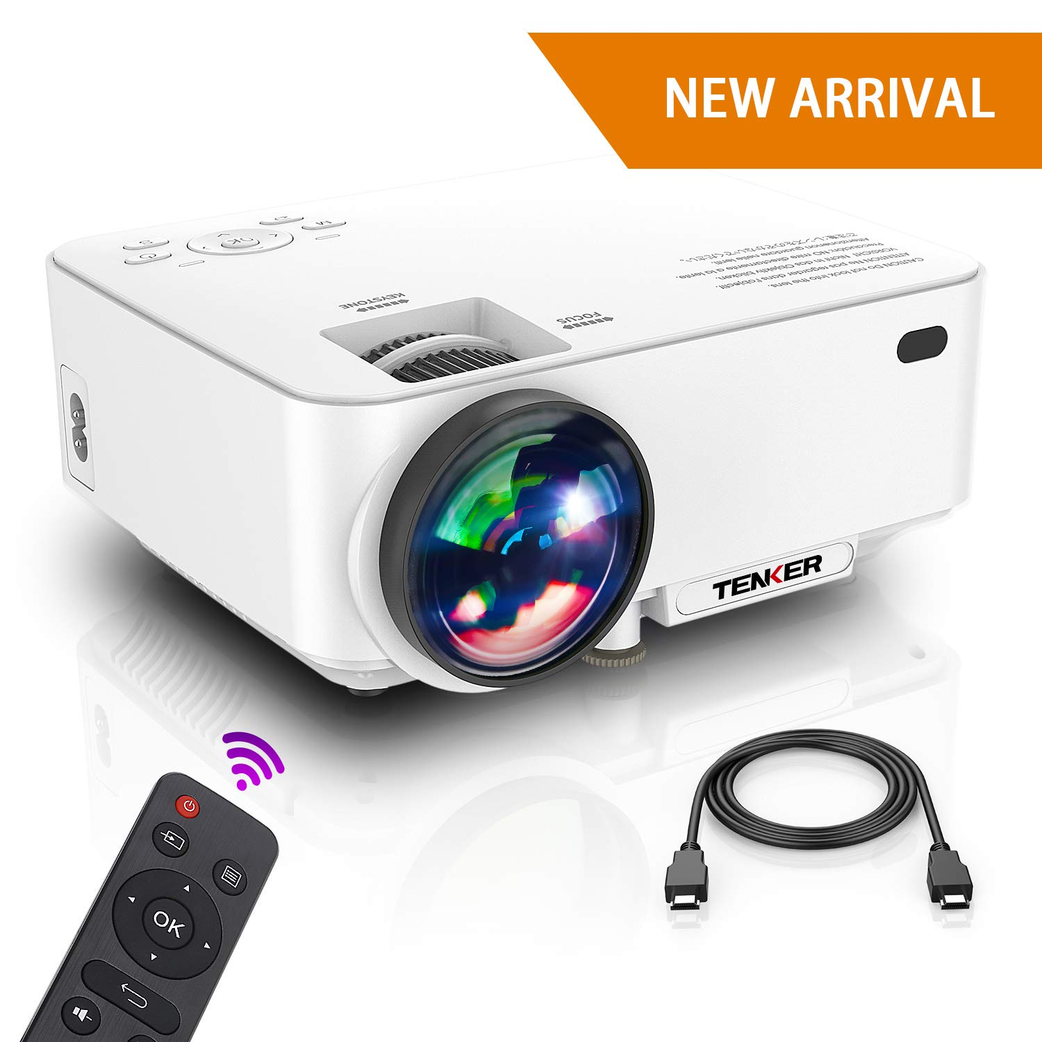 Projector, Upgraded TENKER Projector, Now 65% Brighter, Mini Home Theater Movie Projector with 4.0'' LCD and Up To 176-inch Display, Supports 1080P HDMI/USB/SD Card/AV/VGA for TVs/Laptops/Games