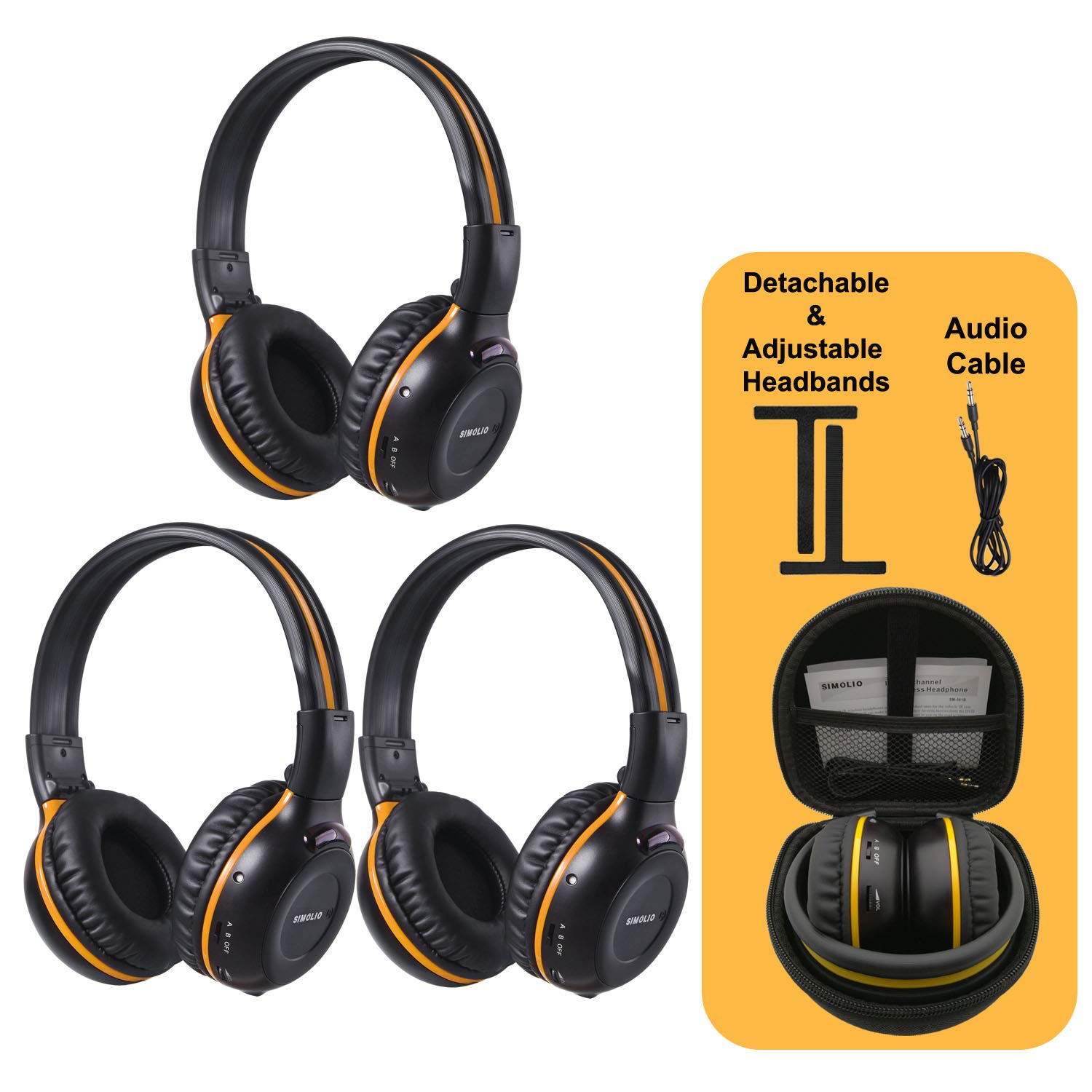 3 Pack of Wireless Car Headphones, Wireless Headphones for Kids, in Car Wireless Headphones with Carrying Case for Universal Rear Entertainment System, 2 Channel Wireless Headphones by SIMOLIO