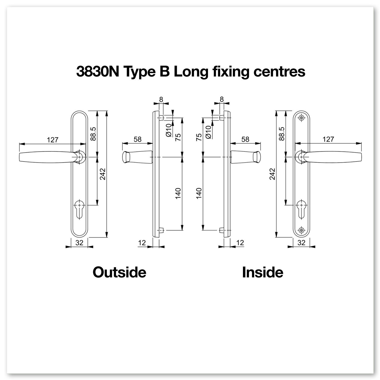 Hoppe Atlanta Juego de manivelas con muelle de 92 PZ//92 mm para puertas de PVC y PVC-U 2 unidades, anchura de la manivela 215 mm