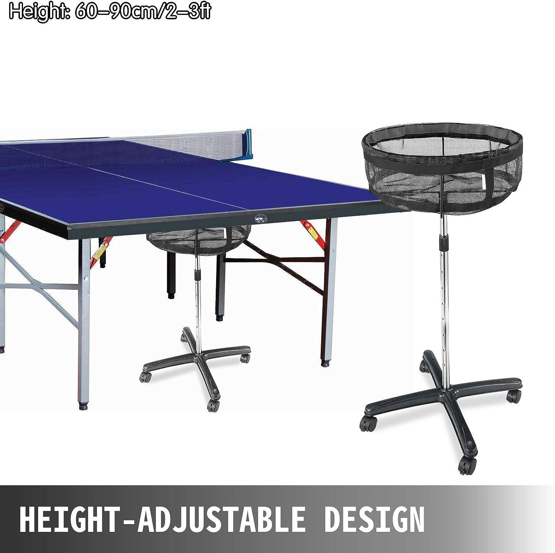 VEVOR Tischtennisb/älle Korb H/öhenverstellbarer Tischtennisballhalter Tischtennisballe Eimer Rechteckig Tischtennisball Sammler Blau
