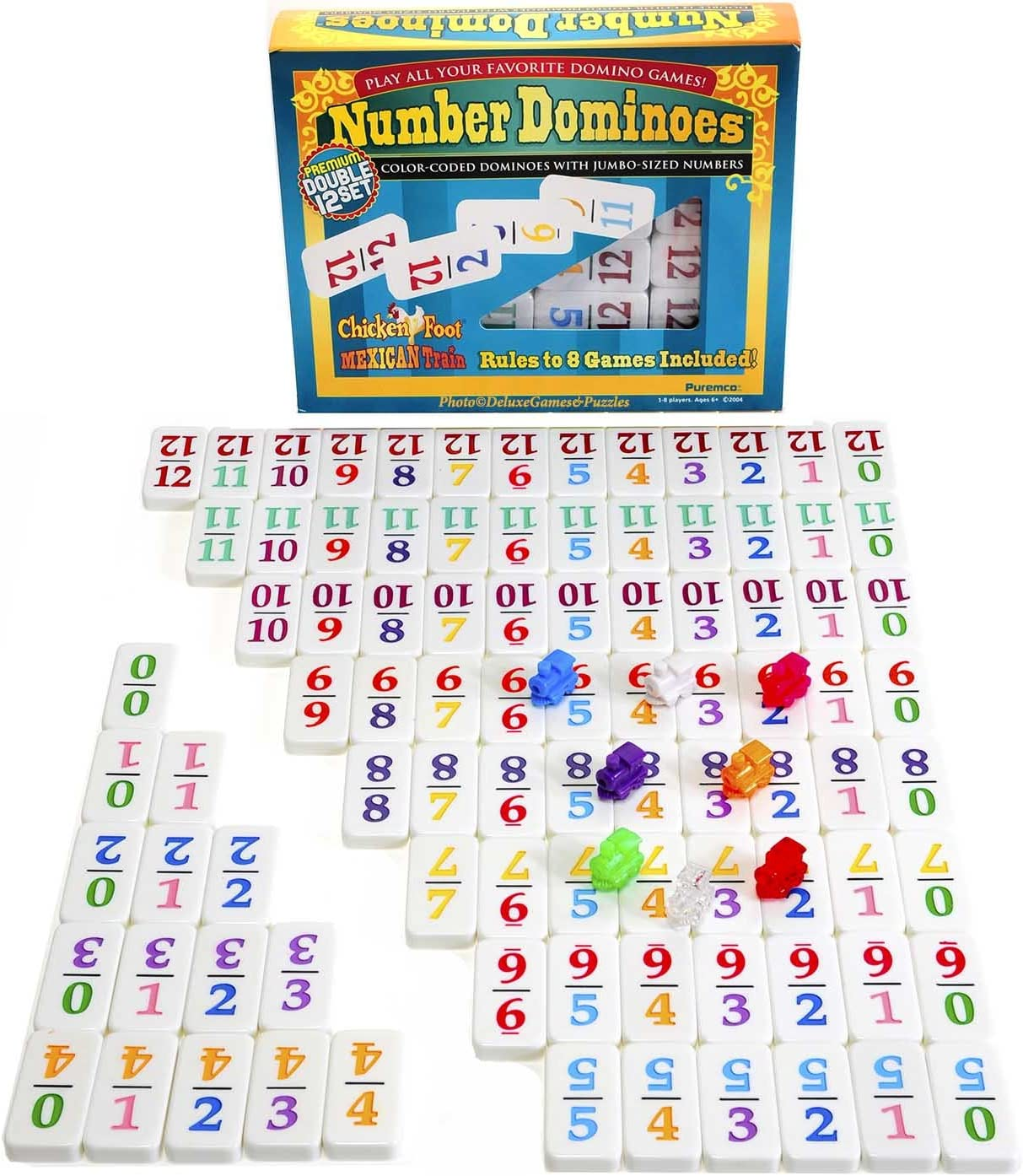 Dominoes Professional Mexican Train, Double 12 Set with Color-Coded Numbers