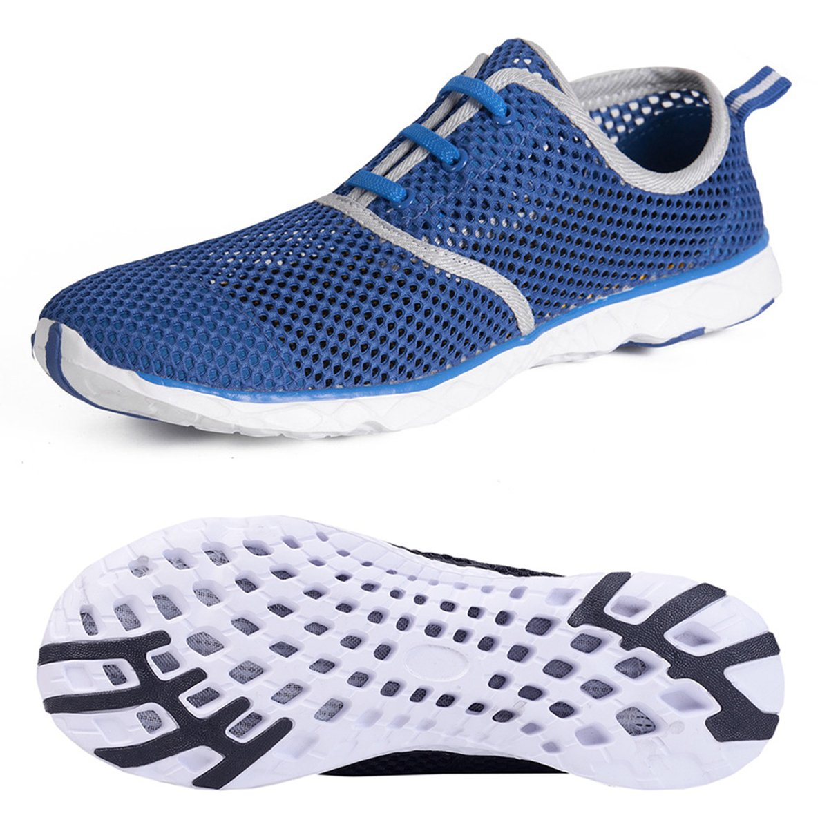 Water Shoes for Men Quick Drying Aqua Shoes Beach Pool Shoes (Blue, 44)