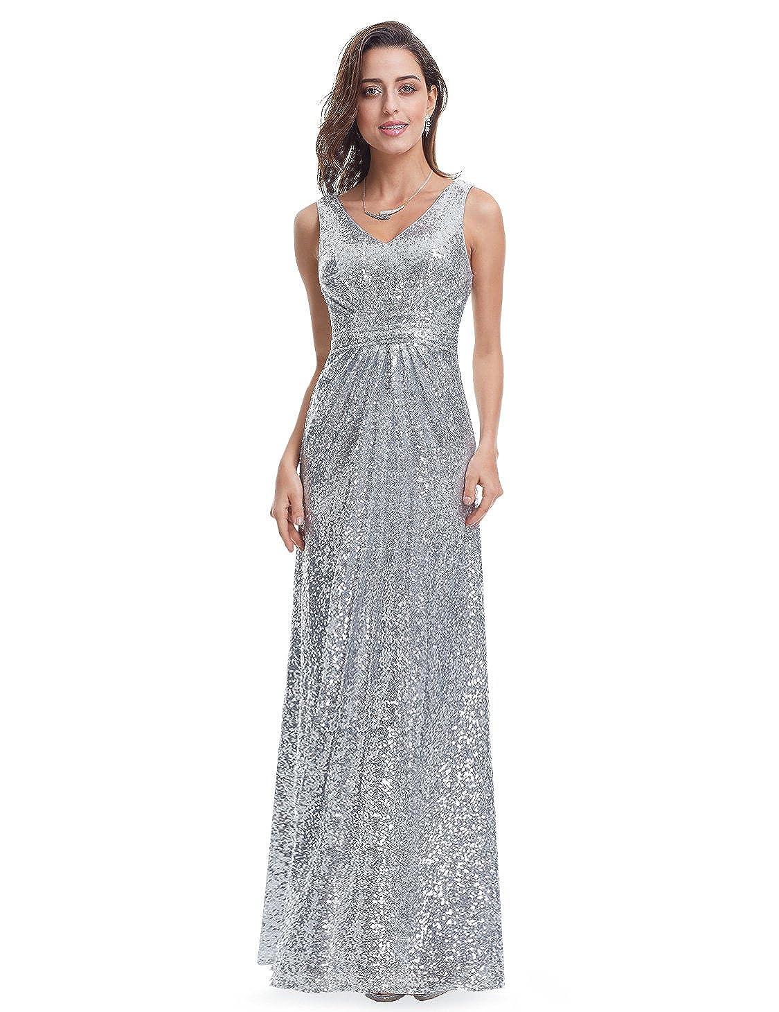 Amazon.com: Ever Pretty Double V-Neck Elegant Sequin Prom Gown ...