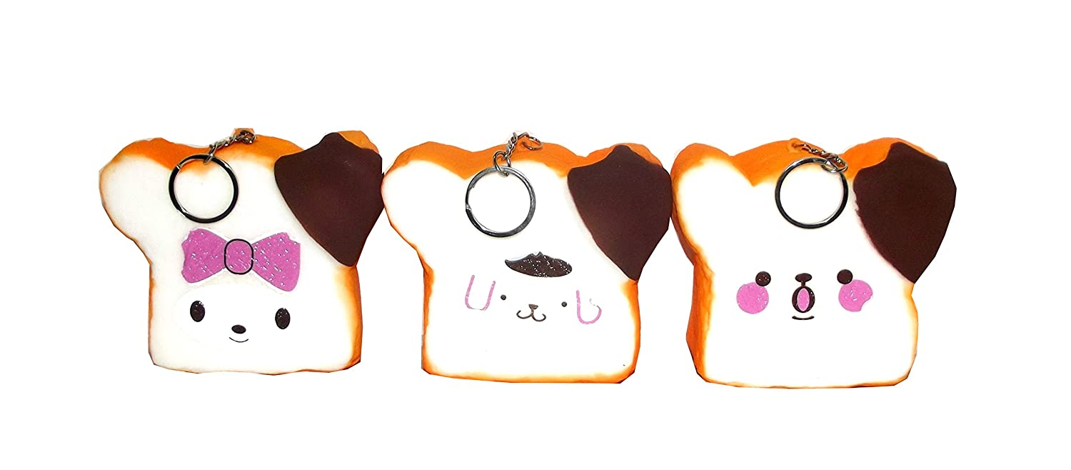 1 count Assorted Squishies Soft Puppy Bread Keychain