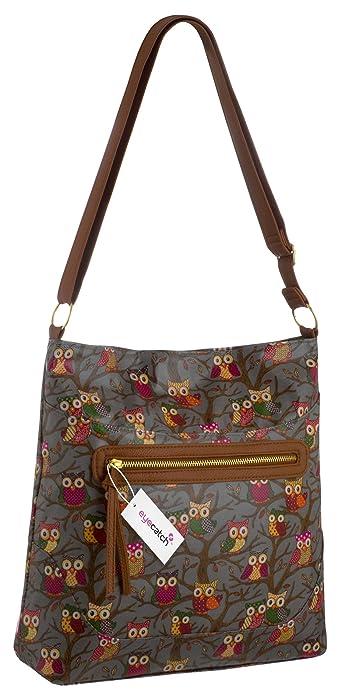 e65ec0b0ccc4 Womens Oil Cloth Cross Body Ladies Owl Design Shoulder Bag Handbag  Handbags   Amazon.com