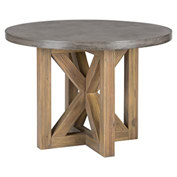 Boulder Ridge Round Dining Table   Concrete Top, Pedestal Base