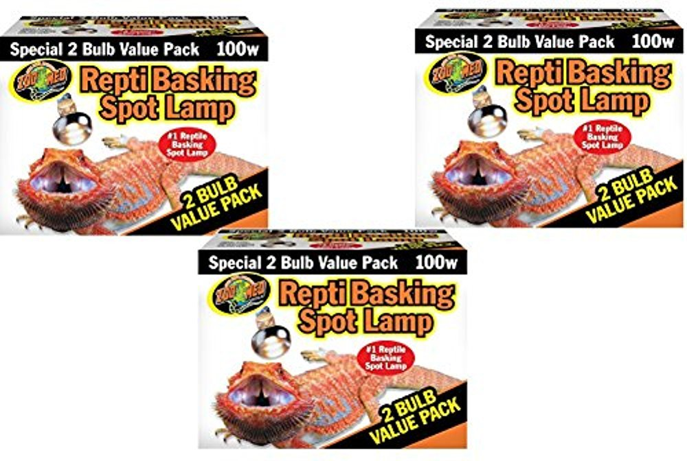 Zoo Med Basking Spot Lamps 100 Watt - 6 Total Bulbs (3 Packs with 2 per Pack) by Zoo Med