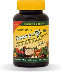 NaturesPlus Source of Life Multivitamin - Whole Foods Nutritional Supplement with Chelated Minerals, Energy Booster - 90 Vegetarian Tablets (30 Servings)