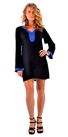 a78ffc92718b7 1 World Sarongs Womens Swimsuit Cover Solid Black Tunic Cover Up with Blue  Trim in Small