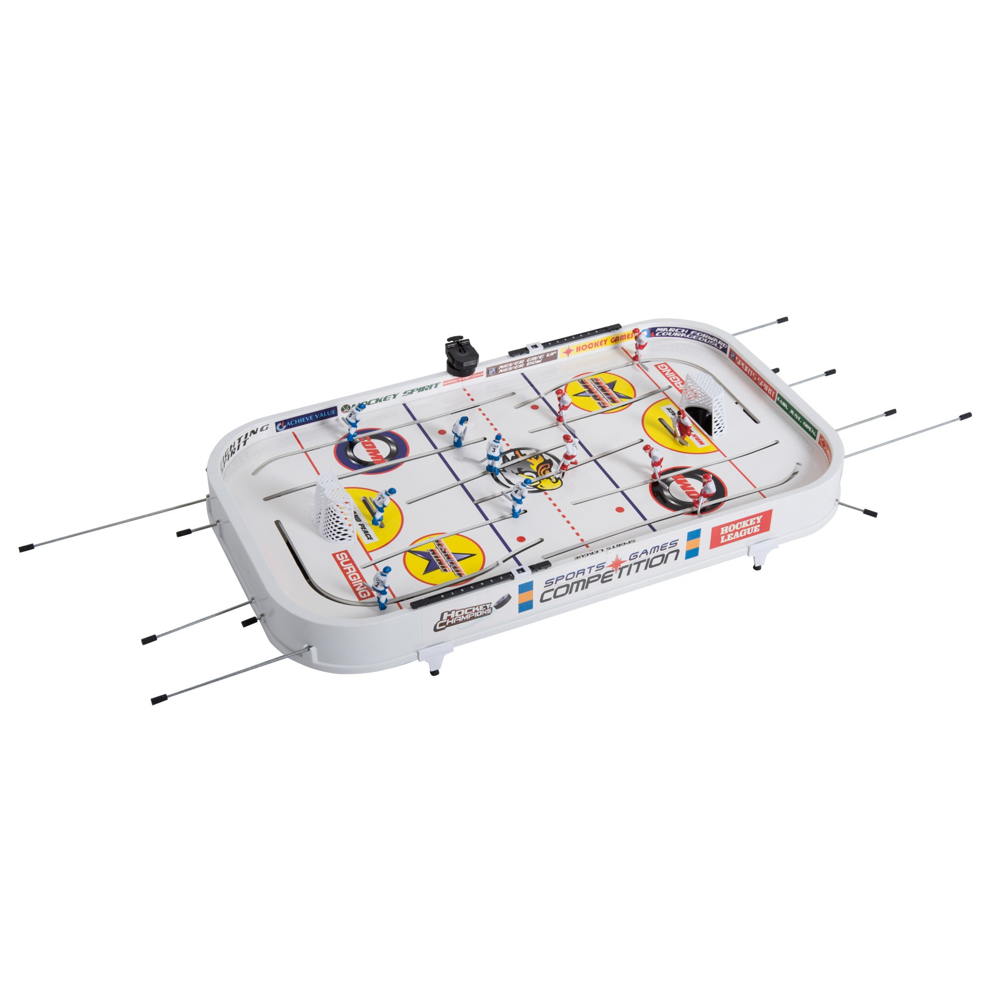 Soozier 37'' Mini Table Top Rod Hockey Table Game for Kids and Adults - White