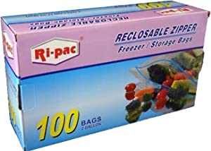Ri Pac Zip Lock Freezer Storage Bags 2 Gallon 100-Count
