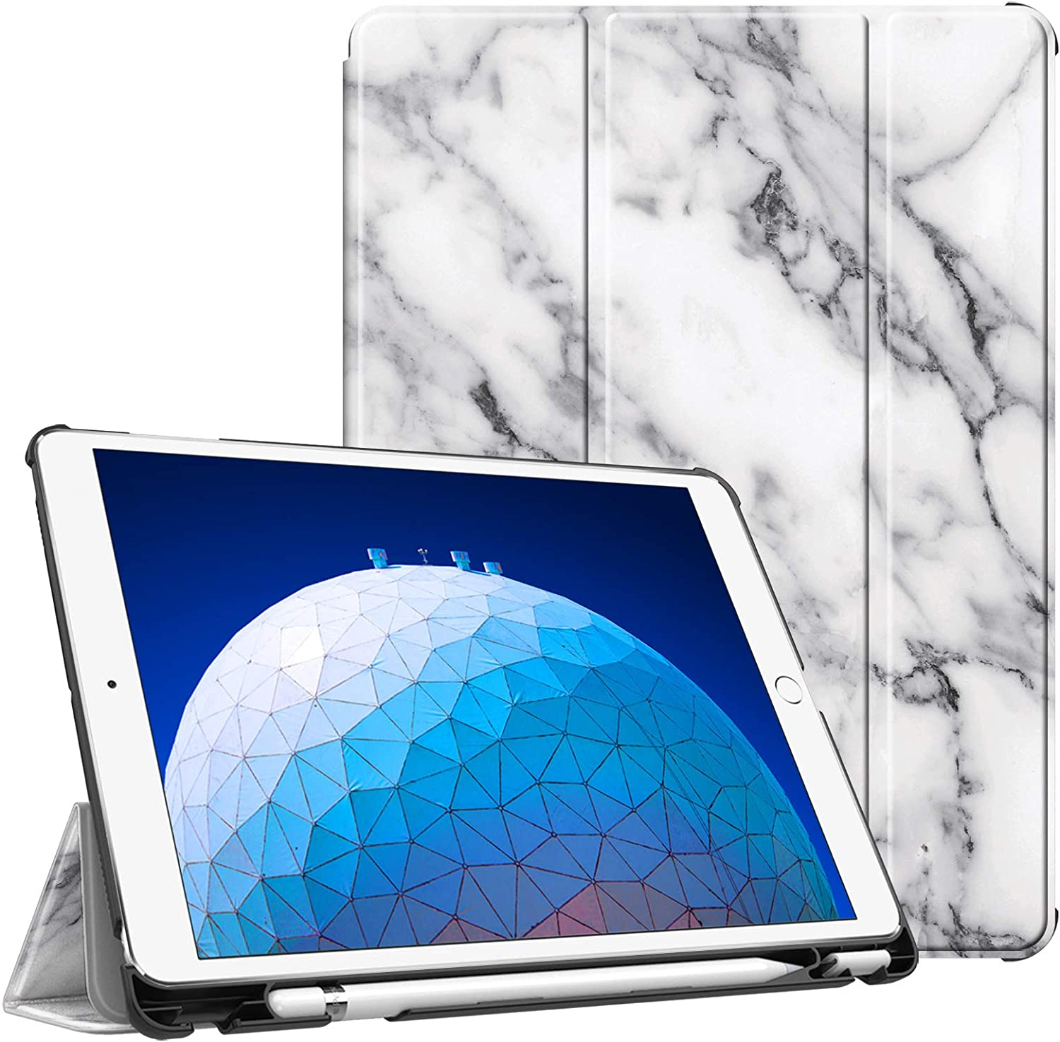 """Fintie Case for iPad Air (3rd Gen) 10.5"""" 2019 / iPad Pro 10.5"""" 2017 - [SlimShell] Ultra Lightweight Standing Protective Cover with Built-in Pencil Holder, Auto Wake/Sleep (Marble White)"""