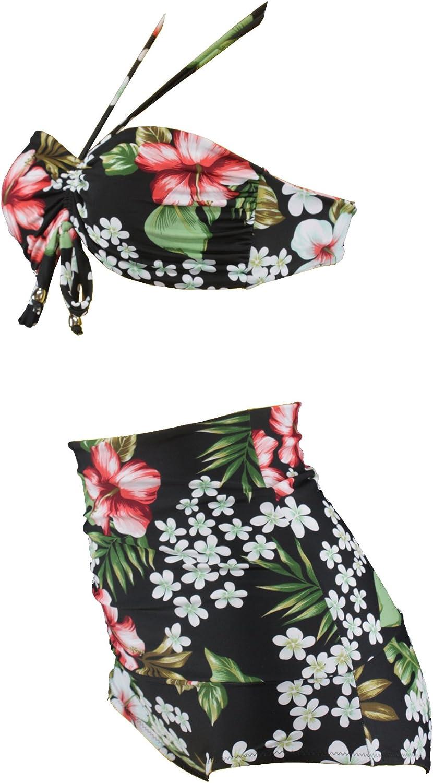 Aloha de Plage High WAIS Ted Tiki Look Rockabilly Flower Bikini a2029