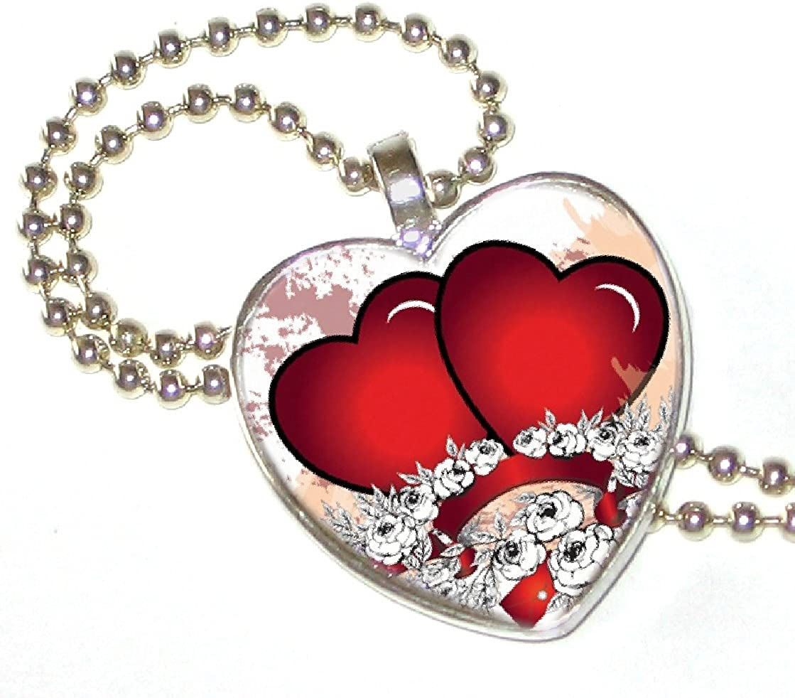 Two Hearts n Flowers on Silver Plated Heart Pendant with 24 Silver Plated Ball Chain