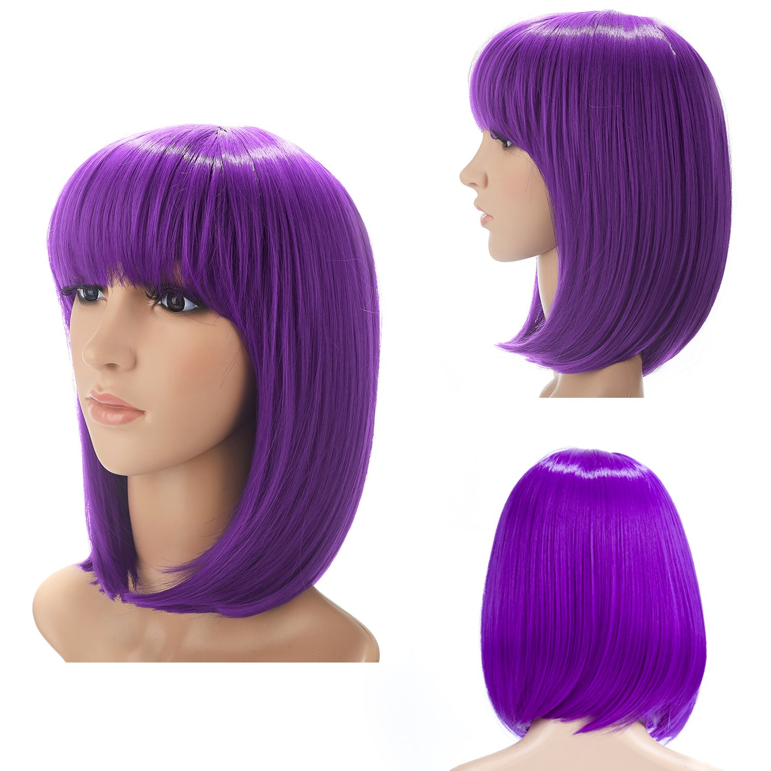 H&N Hair Short Bob Wigs With Bangs 13'' Straight Synthetic Colorful Cosplay Daily Party Wig For Women Natural As Real Hair + Free Wig Cap (Purple)