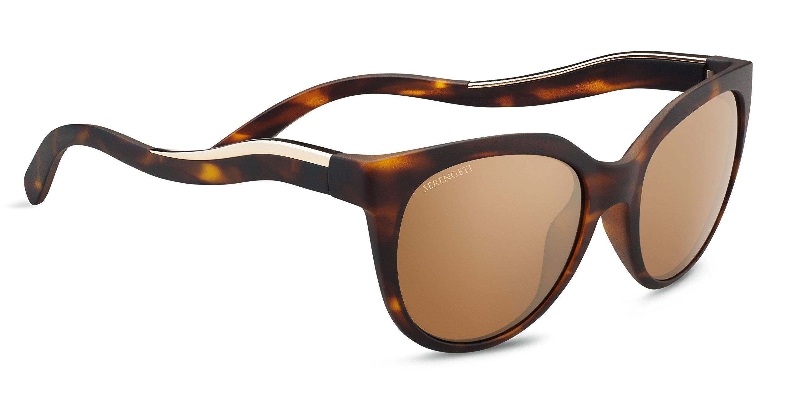 Serengeti Lia Sunglasses Satin Tortoise Frame/Shiny Champange Gold, Gold by Serengeti