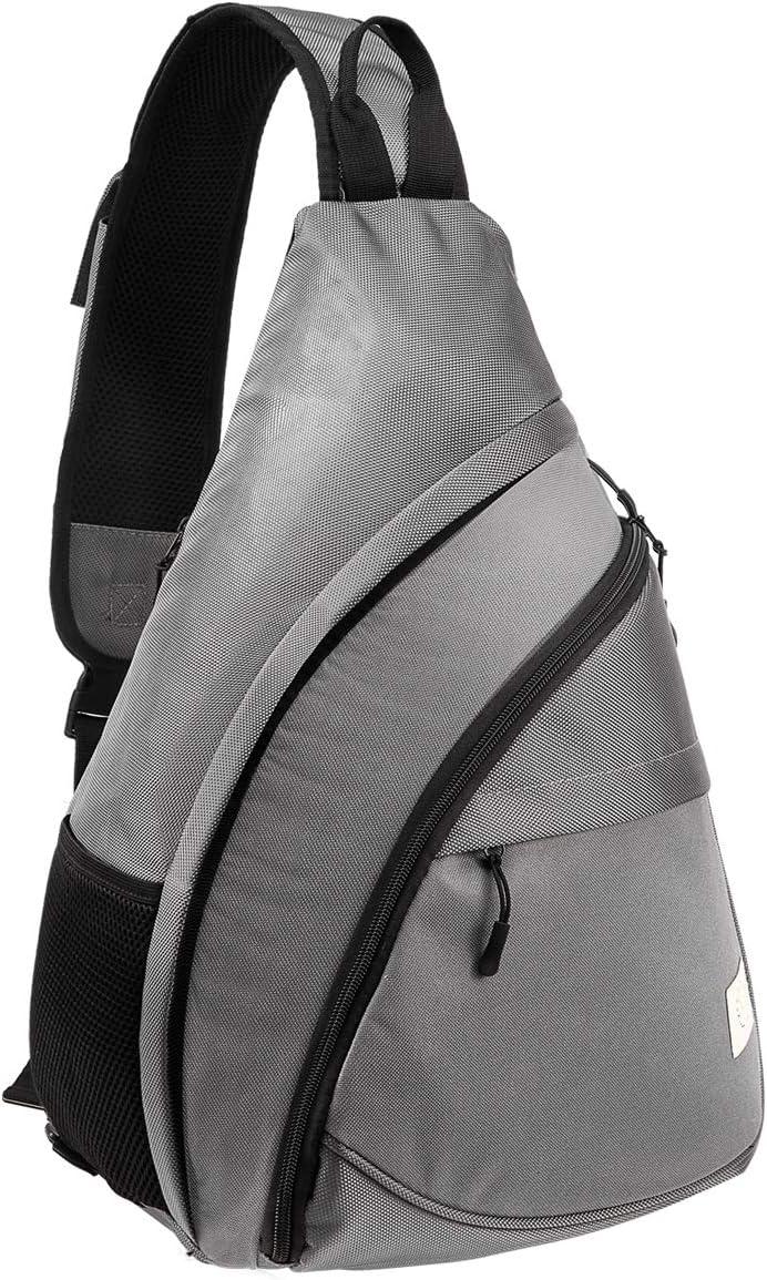 """Lessbad Unisex Sling Bag Backpack Oversized Crossbody Shoulder Chest Bag for Outdoor Travel Hiking Fits 14"""" Macbook Laptop (Grey)"""