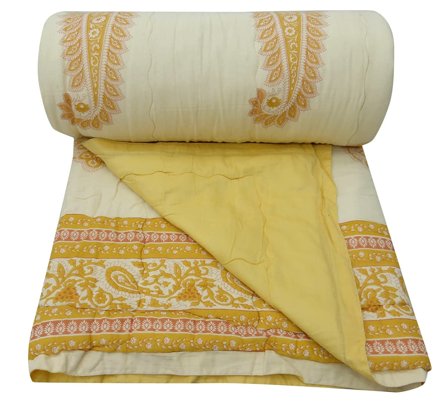 Twin Size Paisley Pattern Quilt Beige Cotton Filled Gudri Home Decor 56 x 87 BeyondLiving