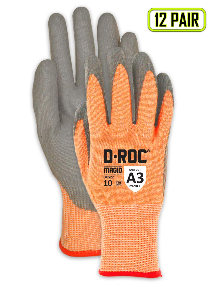 Lightweight Cut Resistant Polyurethane Coated Gloves | Cut Level A3 Work Gloves for Appliance Manufacturing, Assembly & Automotive (DXG22-10) - Orange/Gray, Size 10 (12 Pairs) by Magid Glove & Safety (Image #1)