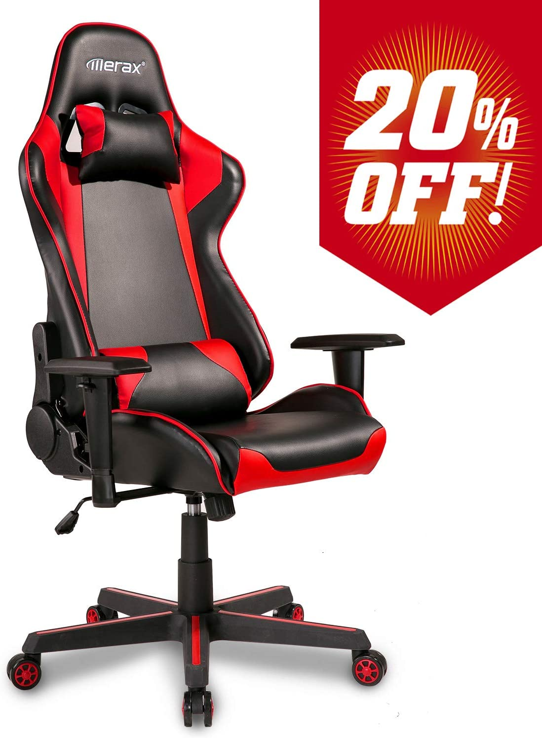 Merax Gaming Chair Computer Game Desk Chair Racing Style Comfy Office Chair Ergonomic Design for Teens Adult Kids