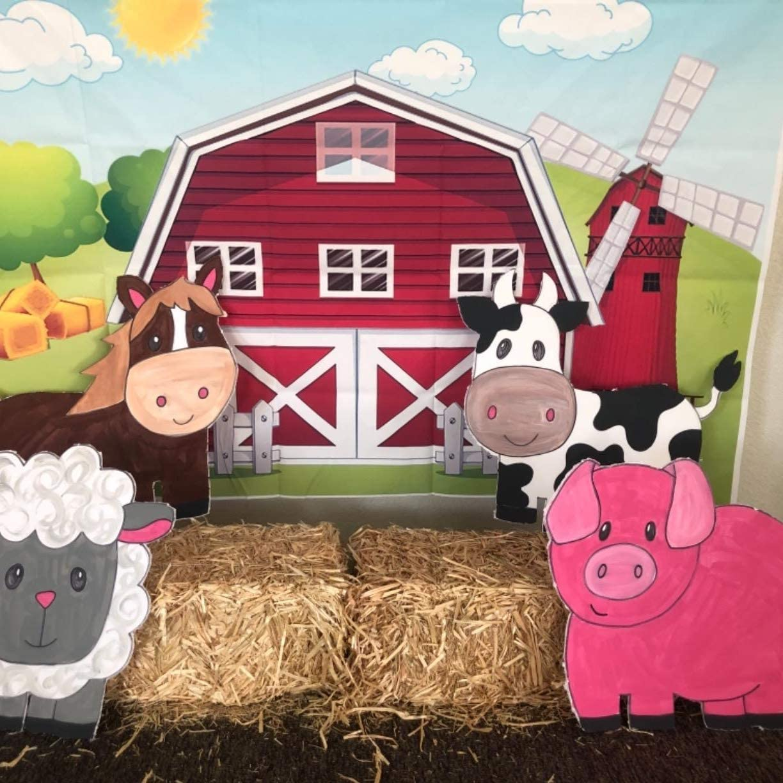 GoEoo 10x7ft Cartoon Farm red barn Windmill Animal House Kids Birthday Baby Shower Newborn Photo Birthday partywallpaper Photo Studio Wedding Cloth familyportrait Cloth