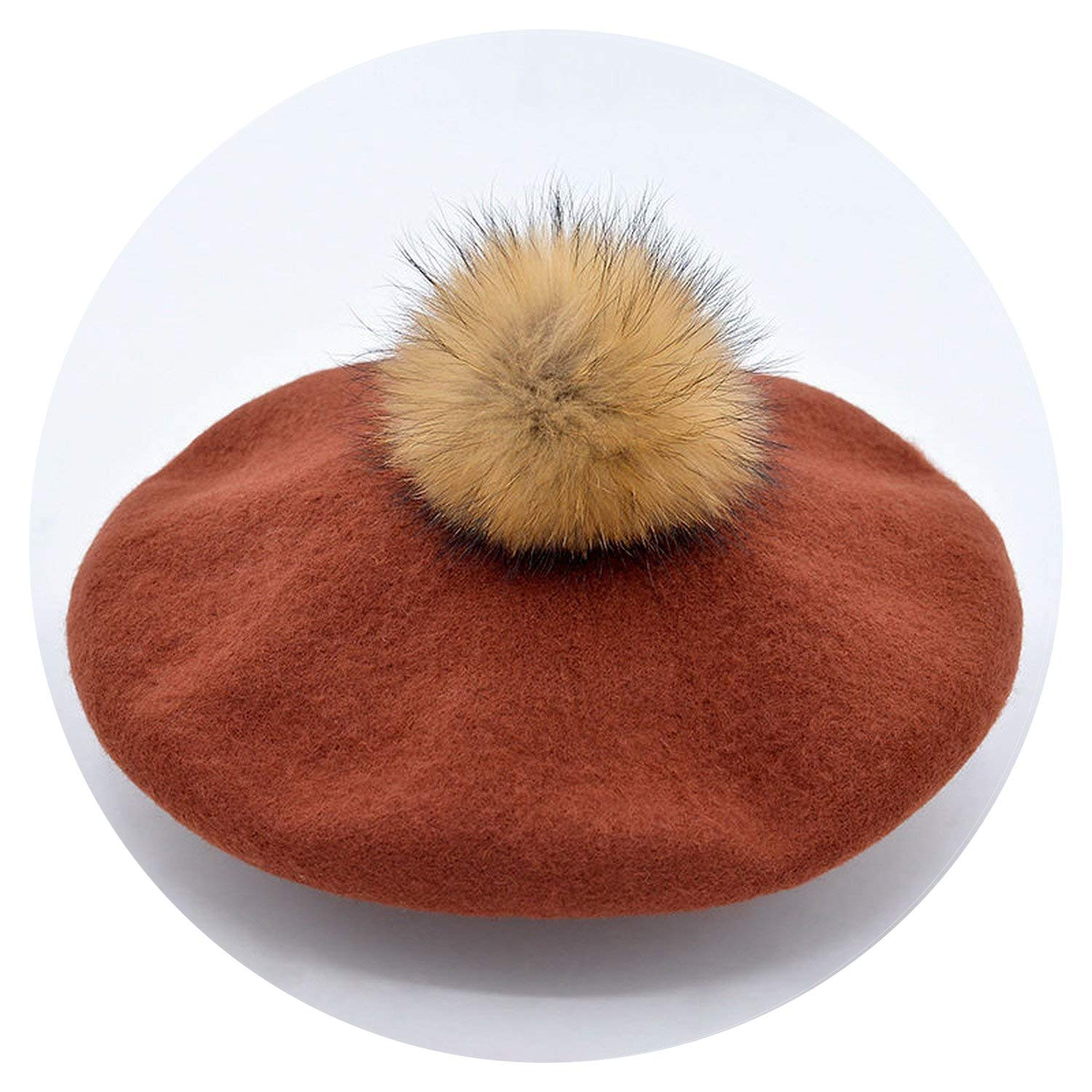 Beret Solid Color Female 100% Wool Berets Pompom,zhuan red,M(56-58Cm) by Chengzi-o hat