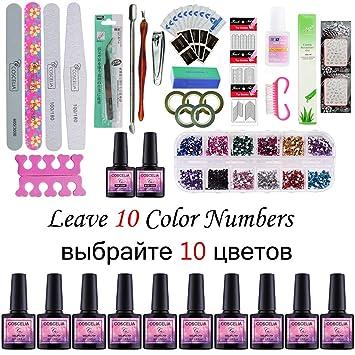55be9837829 Amazon.com   Nail Set Gel Nail 36W UV Lamp Dryer Manicure Set 10Pcs Nail  Gel Polish Soak Off Manicure Gel Polish Kit For Nail Salons NO lamp Kit    Beauty