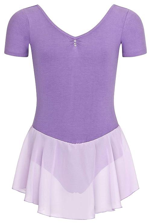 tanzmuster Kinder Kurzarm Ballettanzug Betty aus Baumwolle mit Glitzersteinen und Chiffon Röckchen in rosa, weiß, schwarz, he