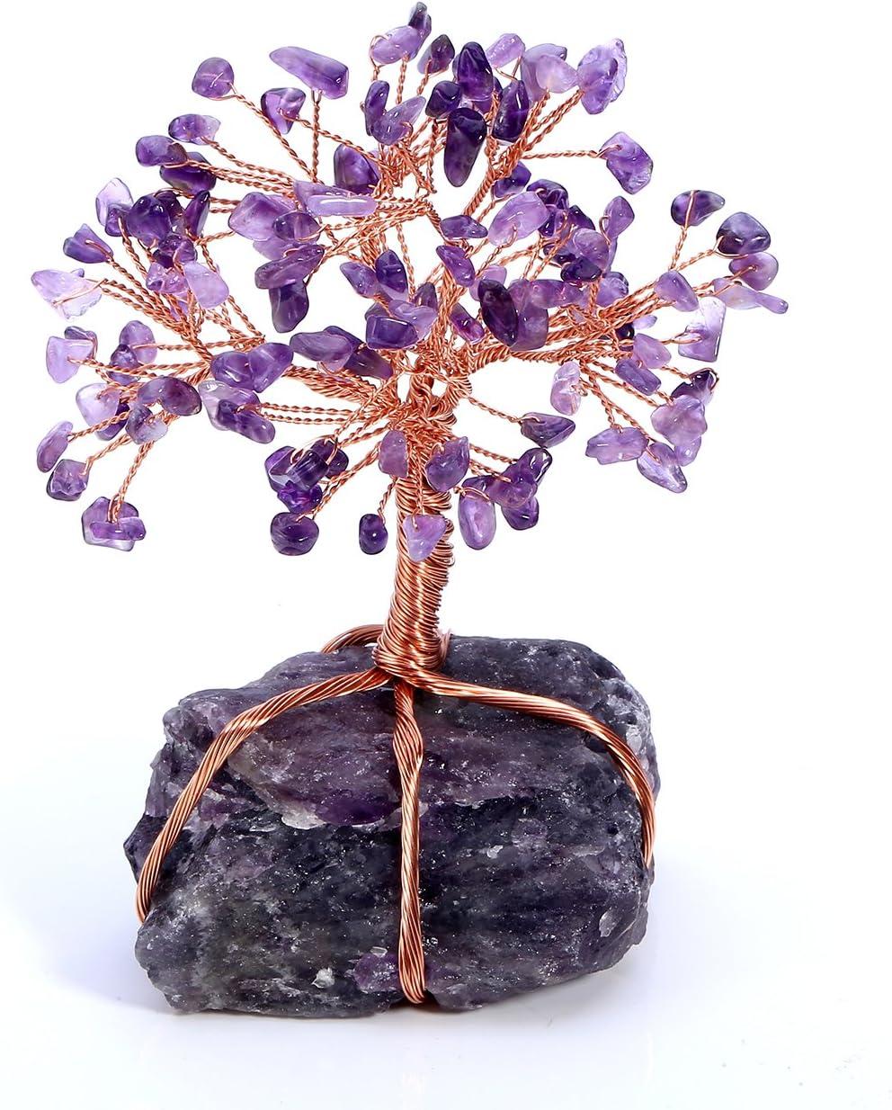 JSDDE - Adorno de árbol de la Vida con Piedras de Cristal Natural, árbol de Dinero de curación Reiki Feng Shui, decoración de Piedras Preciosas, Vidrio, Amatista
