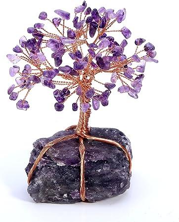 Amethyst Reiki Healing Money Tree Feng Shui Gemstone Decor JSDDE Natural Crystal Tumbled Stones Tree of Life Ornament