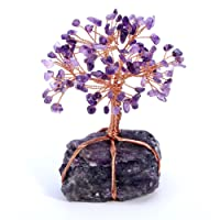 JSDDE Natural Crystal Tumbled Stones Tree of Life Ornament, Reiki Healing Money Tree Feng Shui Gemstone Decor