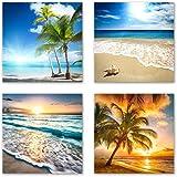 Urlaub Set A schwebend, 4-teiliges Bilder-Set jedes Teil 29x29cm, Seidenmatte Optik auf Forex, moderne Optik, UV-stabil, wasserfest, Kunstdruck für Büro, Wohnzimmer, XXL Deko Bild, Urlaub und Meer