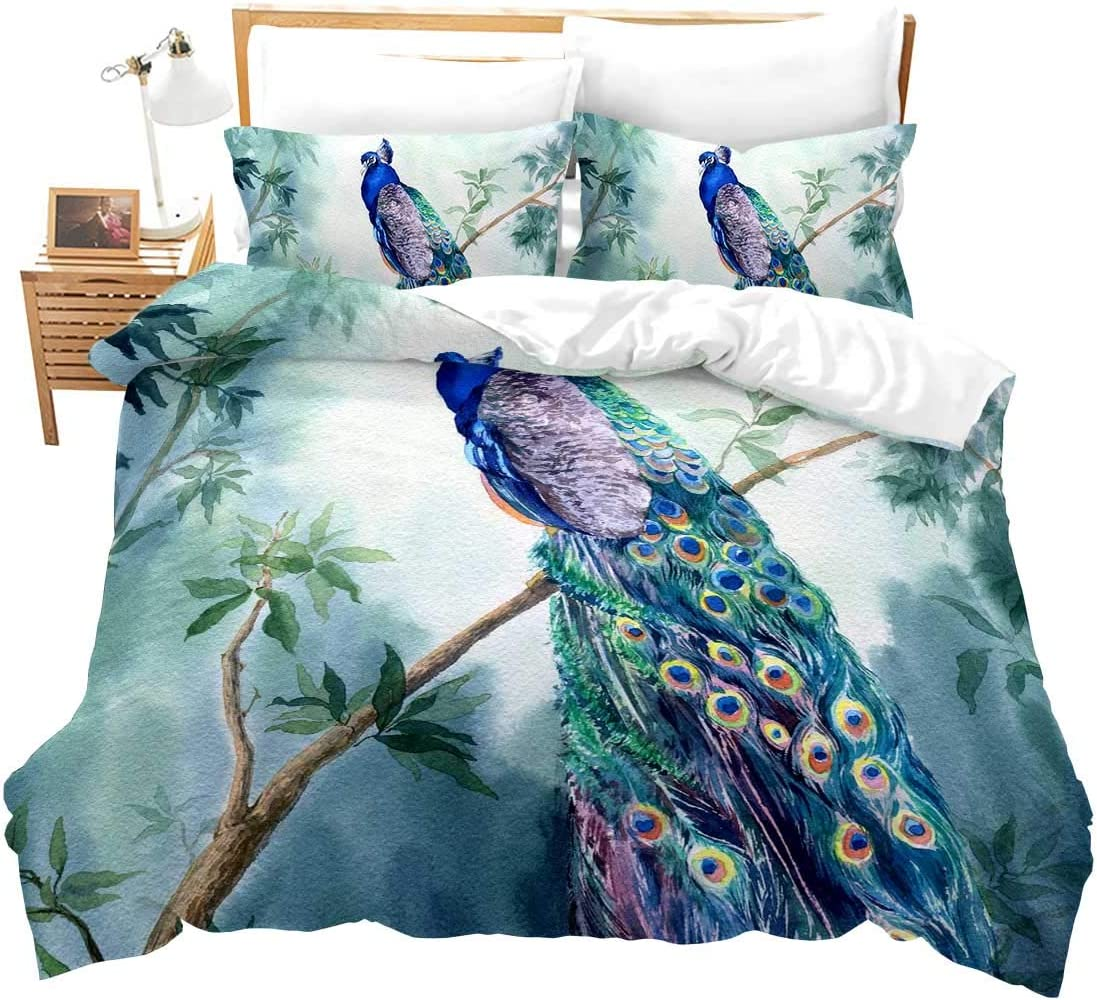 Chinoiserie Chic Peacock Duvet Cover Garden Botanical Bird and Tree Branches Vintage Stylized Bedding Set Tribal Vintage Peacock Feathers Decorative Comforter Cover Set with 1 Pillow Sham,Twin,Blue