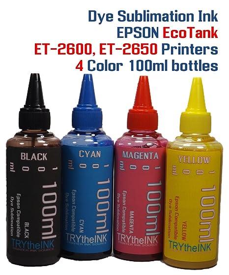 bcb3832180fdb Dye Sublimation Ink 4 Multi Color 100ml Bottles - EcoTank ET-2600, ET-2650