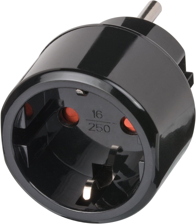 Brennenstuhl Reisestecker/Reiseadapter (Reise-Steckdosenadapter für: USA Steckdose und Euro Stecker) Farbe: schwarz 1508550