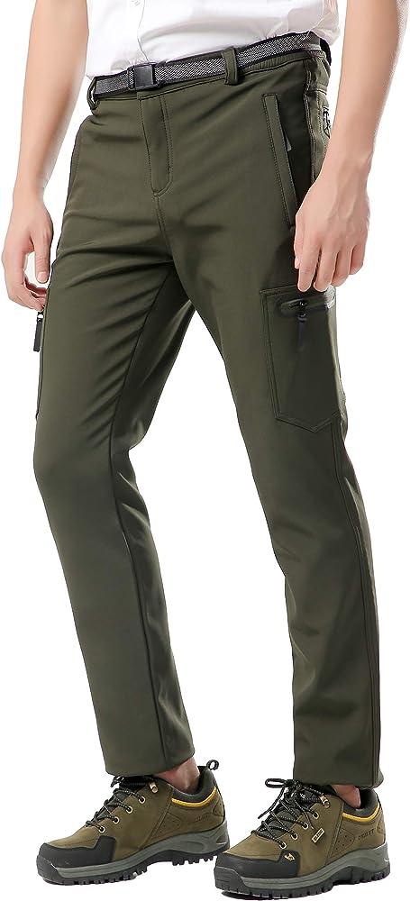 DENGBOSN Pantalones de Monta/ña Mujer Impermeables Invierno Calentar Pantalones Trekking Escalada Senderismo Softshell