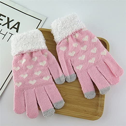 c343a822e Pink And Heart-shaped Autumn And Winter Women Warm Knitted Wool Fluff Gloves  at Amazon Women's Clothing store: