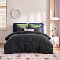 Bedsure King Duvet Cover Set Black - Ultra Soft Bed Cover Set for All Season, 3 Piece Breathable King Bedding Set with…